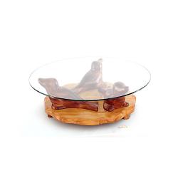 Table basse sculpturale trio de phoques en bois noble