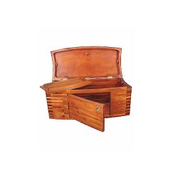 Coffre de mer avec porte et plateau en bois noble