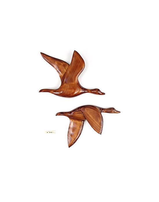 Le vol du colvert en bois noble 40 cm