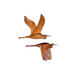 Le vol du heron en bois noble 60 cm-(L'exemplaire)