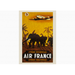 Affiche Air France / Afrique Occidentale-Afrique Equatoriale