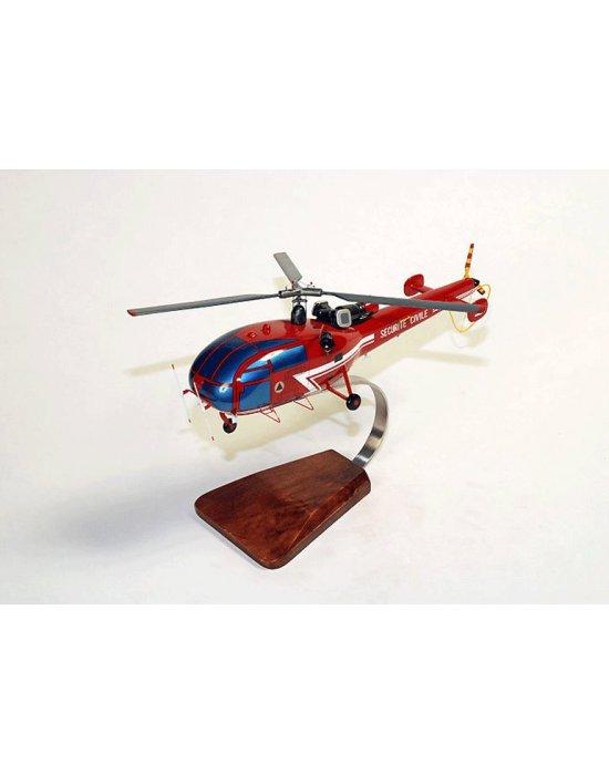 Maquette en bois de l'Alouette III SA.316B Sécurité Civil