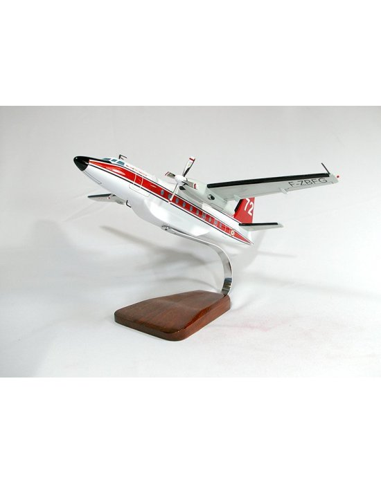 Maquette avion Fokker 27 Securite Civile en bois