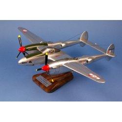 Maquette avion P-38 / F.5B Lightning GR2/33 Savoie St Exupéry en bois