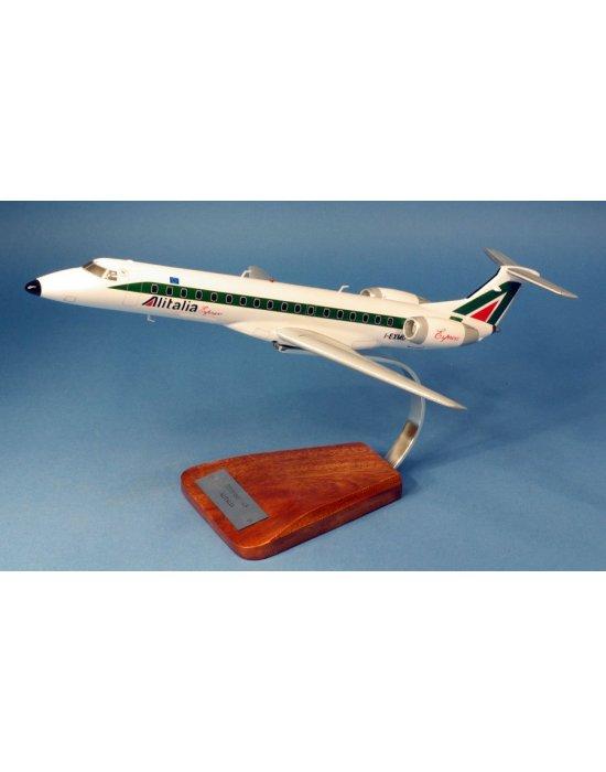 Maquette avion Embraer 145 Alitalia I-EXMU en bois