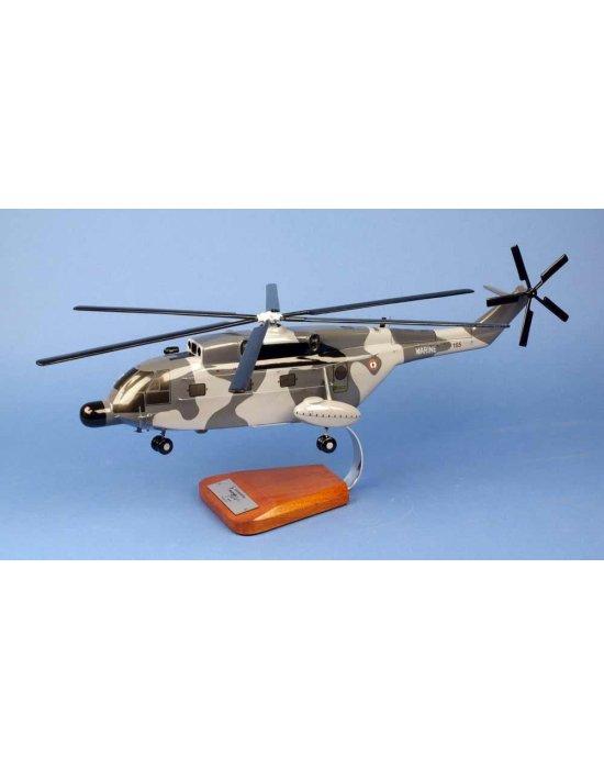 Maquette hélicoptère SA321G Super Frelon Flottille 32.F en bois